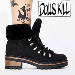 Dolls Kill Dare To Trek Ankle Boots Black Sz: 8.5